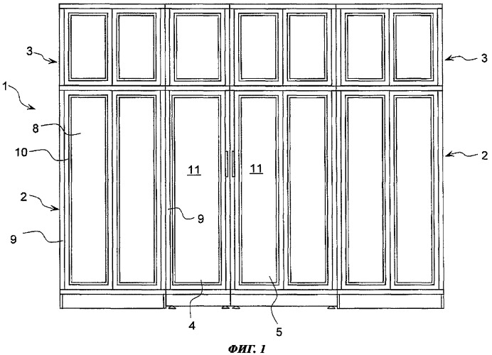 Мебельная конструкция для встраиваемых приборов