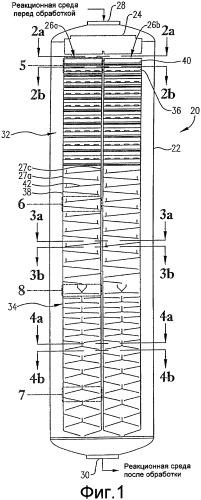 Реактор с оптимизированной конструкцией внутренних лотков