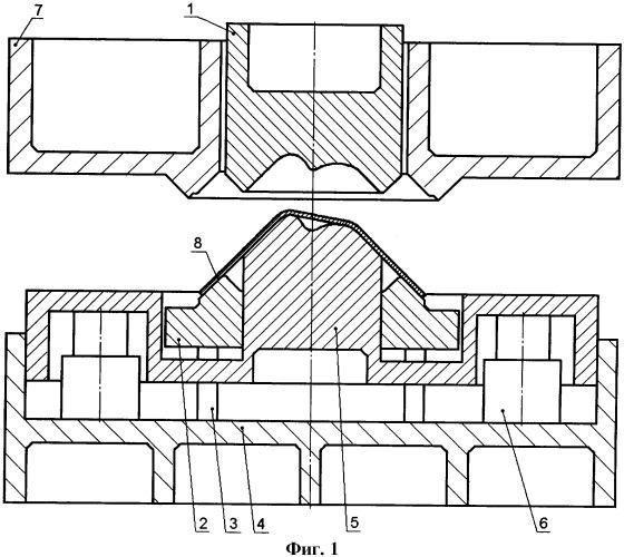 Способ вытяжки сложных крупногабаритных деталей в штампе на прессе двойного действия (варианты)