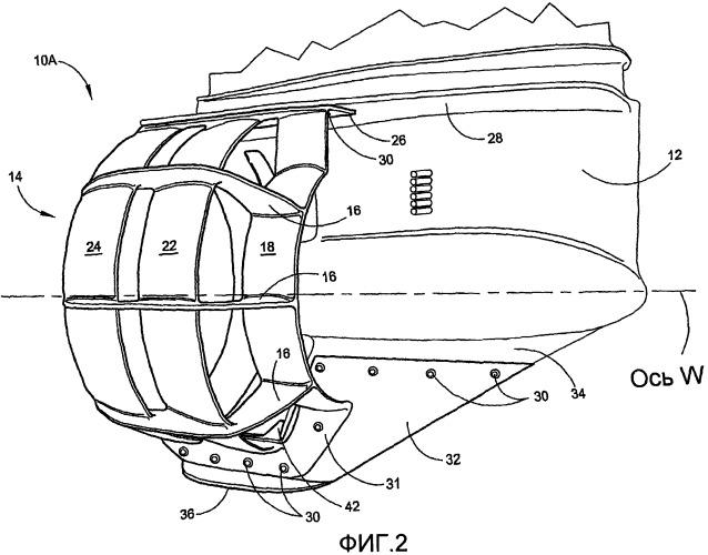 Система вентури с множеством направляющих насадок для судна