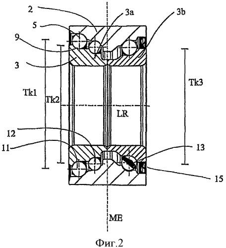 Асимметричный трехрядный подшипник качения и подшипниковый узел ступицы колеса с указанным подшипником качения