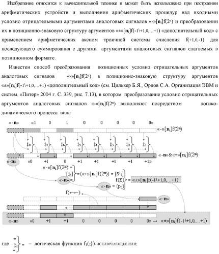 """Способ логико-динамического процесса преобразования позиционных условно отрицательных аргументов аналоговых сигналов «-»[ni]f(2n) в позиционно-знаковую структуру аргументов «±»[ni]f(-1\+1,0, +1) """"дополнительный код"""" с применением арифметических аксиом троичной системы счисления f(+1,0,-1) (варианты русской логики)"""