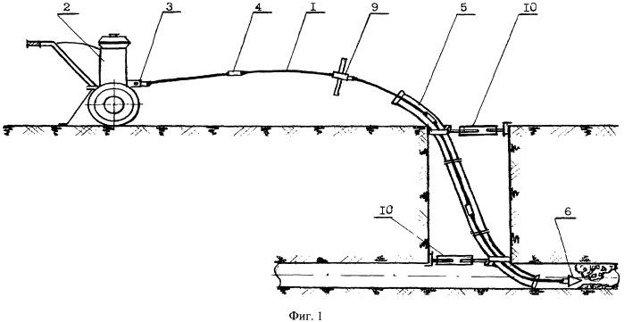 Комплекс для прочистки канализационной сети (кпкс) и соединительный узел для стержневых элементов