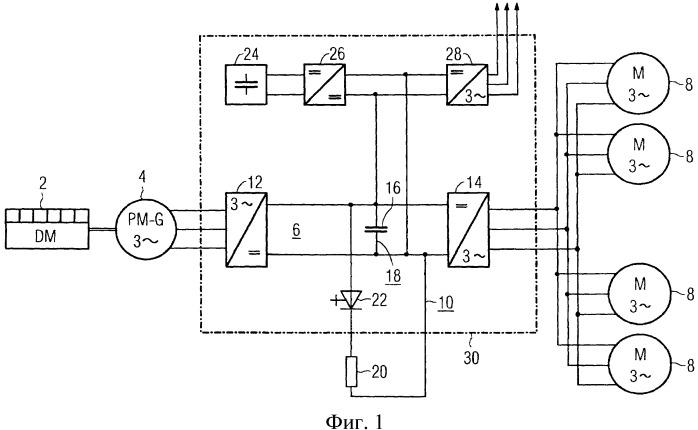 Дизель-электрическая система привода с возбуждаемым постоянными магнитами синхронным генератором