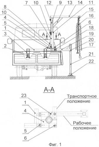 Консольный поворотный кран, установленный на бортовую платформу транспортного средства