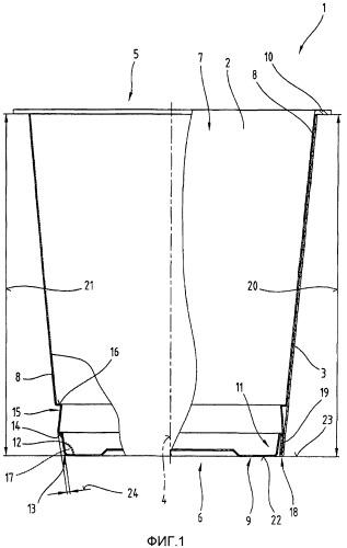 Способ изготовления комбинированной упаковочной емкости, а также кольцеобразной наружной детали