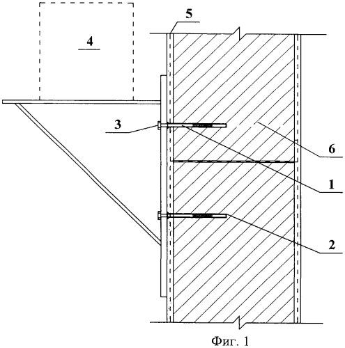 Способ установки крепежного элемента навесного оборудования в наружной стене здания