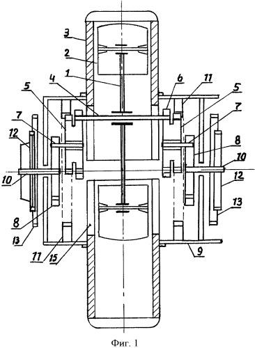Бесшатунный планетарно-кривошипный преобразователь вращения с укороченным штоком (вариант 4-й)