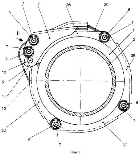 Устройство для соединения двух концов труб или шлангов, снабженных фланцами