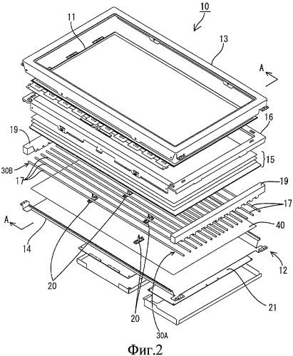 Подсвечивающее устройство, устройство отображения и телевизионный приемник