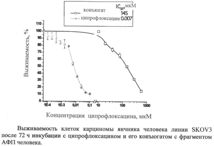 Способ получения конъюгата фрагмента альфа-фетопротеина человека с ципрофлоксацином