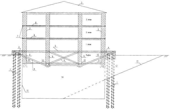Фундамент реконструируемого здания