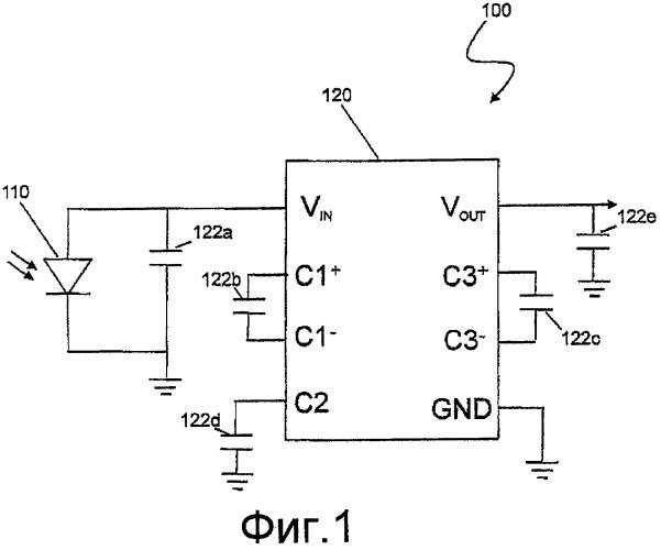 Оптическая система электропитания для электронных схем с использованием одного фотогальванического элемента