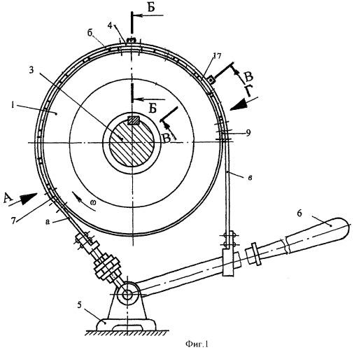 Ленточно-колодочный тормоз с неподвижными и перемещающимися фрикционными накладками на тормозной ленте