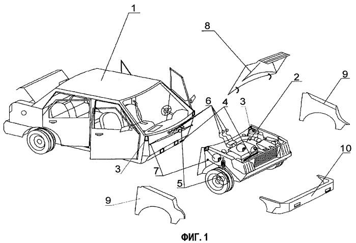Способ модульного изготовления и сборки транспортных средств различного типа и модуль кузова и модуль моторного отсека, изготовленные согласно этому способу