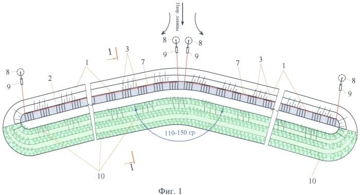 Способ возведения лавинозащитной дамбы биопозитивной конструкции