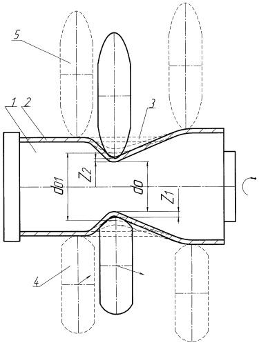 Способ получения оживальной оболочки со значительным перепадом профиля обжатием за один или несколько проходов ротационным выдавливанием
