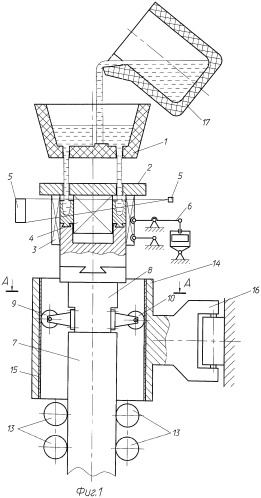 Вертикальная машина полунепрерывного литья металлических трубных заготовок