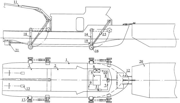 Устройство многофункционального грузопассажирского судна-толкача-амфибии