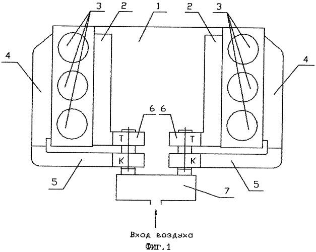 Устройство для наддува v-образного двигателя внутреннего сгорания