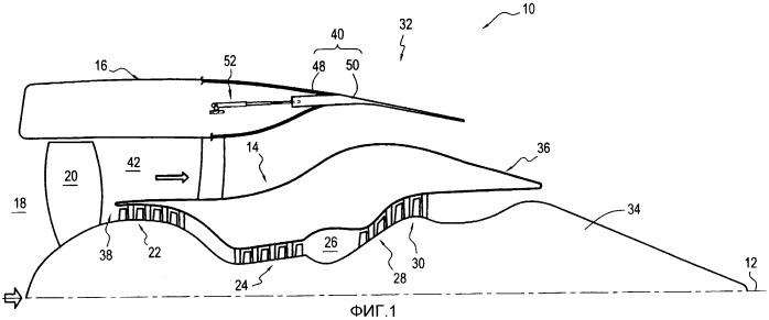 Труба для выпуска газов из турбореактивного двигателя двухконтурной конструкции с сечением отверстия для выпуска газов или горловины, изменяющимся за счет перемещения вторичного обтекателя, и турбореактивный двигатель