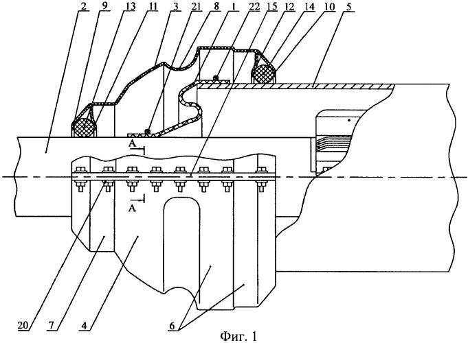 Устройство для защиты резиновой манжеты и способ его сборки на трубопроводе перехода, прокладываемом под инженерными сооружениями и водными преградами