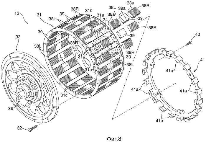 Двигатель, структура ротора и магнитная машина