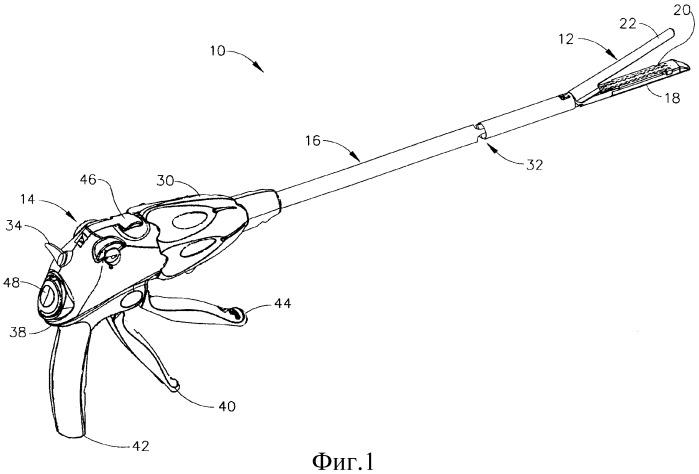 Хирургический инструмент для наложения скобок, содержащий направляющую приводимого в действие электроактивным полимером стержня запуска, проходящую через шарнирное соединение