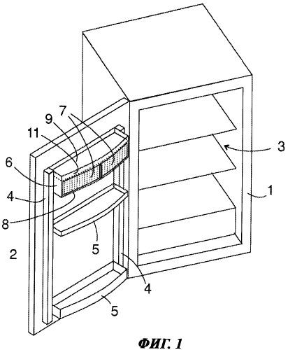 Холодильный аппарат с отделением, закрываемым сдвижными дверцами