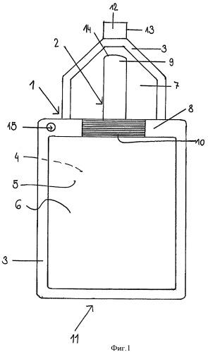 Герметично запечатанный мешок для жидкости с приварным штуцером для питья или дозировки