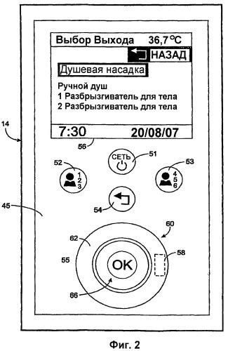 Интерфейс пользователя для управления водопроводной арматурой для ванной комнаты