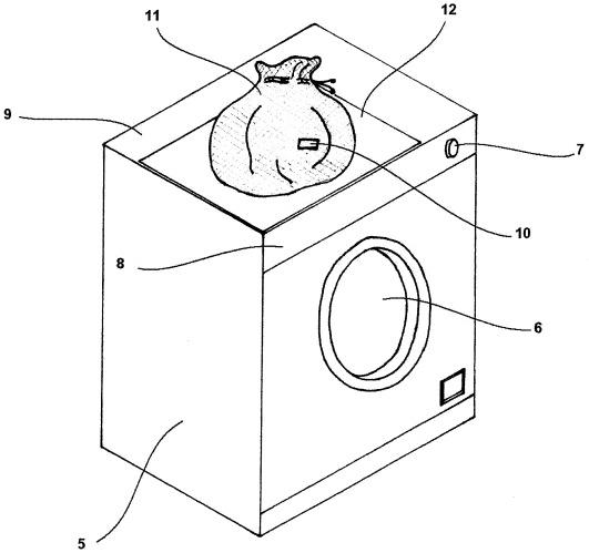 Стиральная система со средством связи с биркой