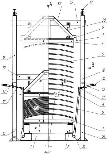 Гидравлический многоэтажный пресс с гидроцилиндрами подъема и нагревательными плитами