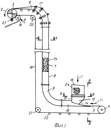 Ленточный вертикальный конвейер воздухозаборники на транспортер