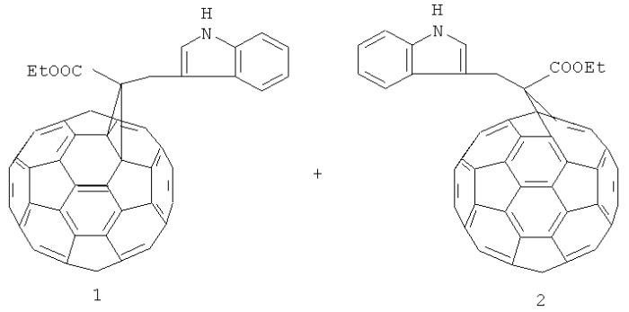 Способ совместного получения 1'-(3-1н-индолметил)-1'-этилформил-( c60-ih)[5,6]фуллеро[2',3':1,9]циклопропана и 1'a-(3-1н-индолметил)-1'a-этилформил-1'a-карба-1'(2')a-гомо(c60-ih)[5,6]фуллерена