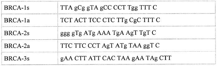 Набор синтетических олигонуклеотидов для определения нуклеотидной последовательности кодирующей части гена brca1 и выявления мутаций, ассоциированных с наследственными формами рака молочной железы
