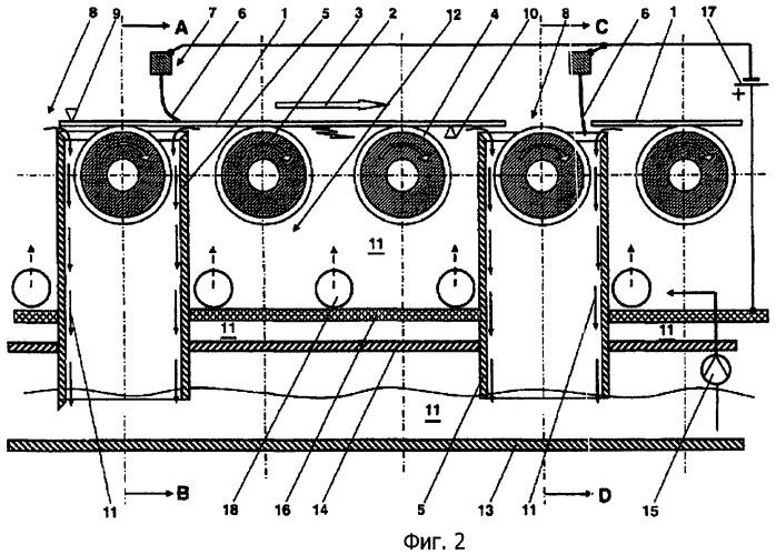 Устройство и способ для электрического контактирования плоского изделия в установках непрерывного действия