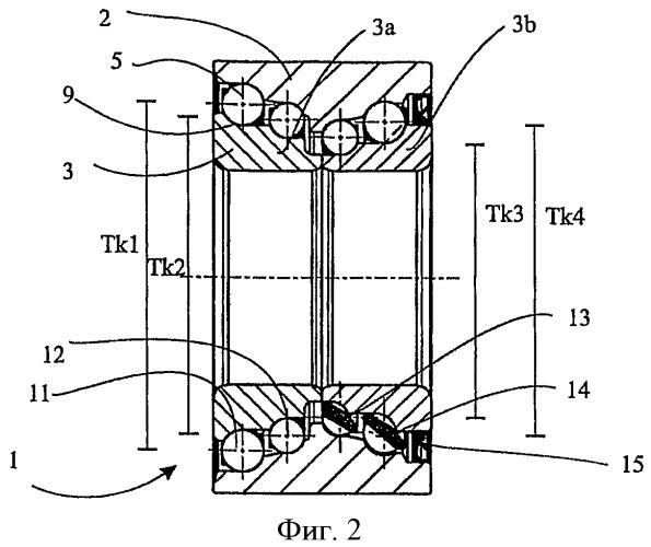 Многорядный подшипник качения и узел подшипника ступицы колеса с упомянутым подшипником качения