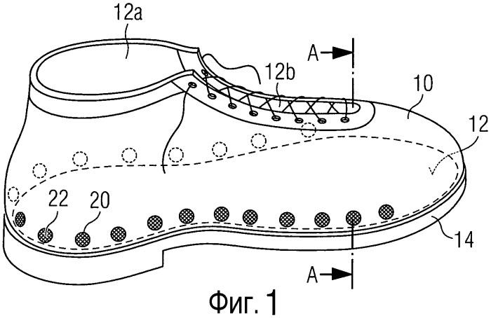 Обувное изделие с вентиляцией в нижней зоне верха обувного изделия и применяемая для этого пропускающая воздух разделительная структура