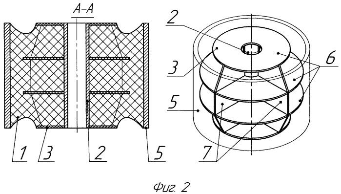 Резино-металлический амортизатор с силовой арматурой, изменяющей геометрию