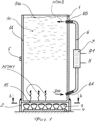 Способ нагрева жидкости в вертикально установленной неподвижной емкости с плоским днищем, высота которой больше размеров днища