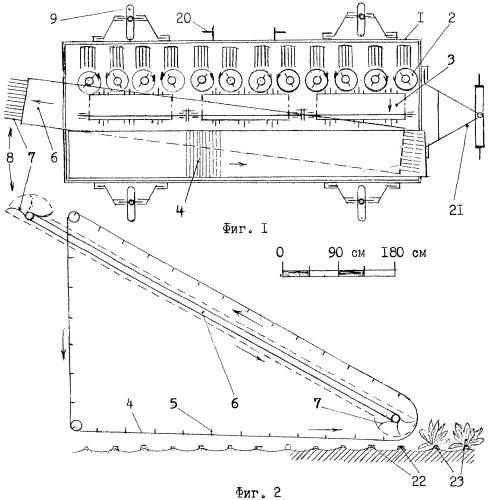 Система транспортеров многорядной свеклоуборочной машины и гидропривод их подъема-опускания