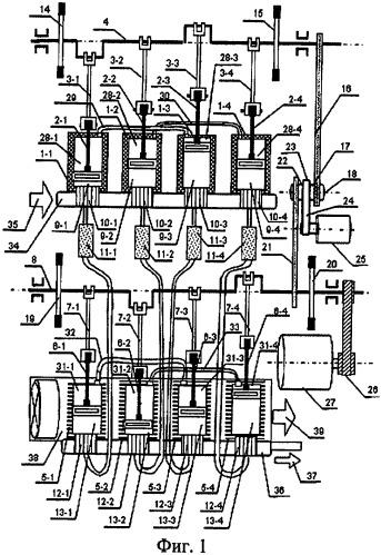 Многоцилиндровая тепловая машина регулируемой мощности с внешним подводом тепла