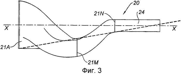 Выпускной коллектор для рабочих газов, образующий колено, в летательном аппарате, способ осуществления работы выпускного коллектора и газотурбинный двигатель, содержащий указанный коллектор