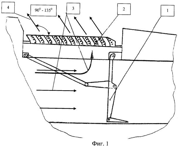 Способ поворота газового потока в отклоняющих решетках реверсивного устройства газотурбинного двигателя
