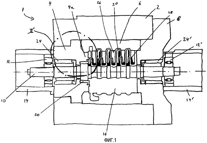 Лопаточная машина с усовершенствованным компенсирующим поршневым уплотнением