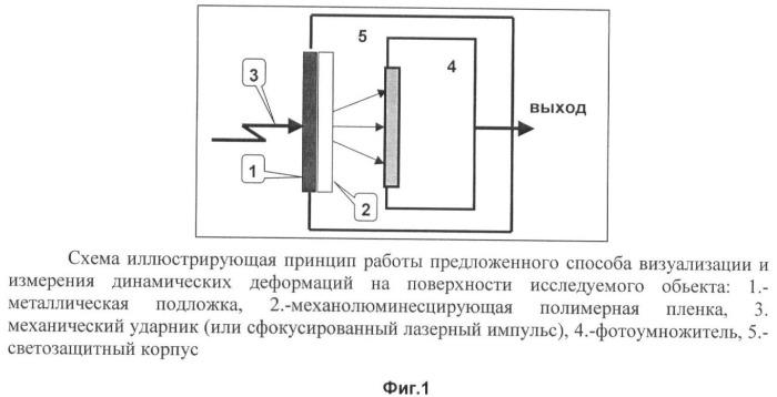 Способ визуализации и контроля динамических деформаций поверхности и ударных нагрузок
