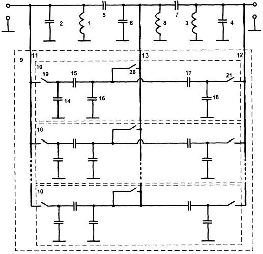 Полосовой дискретно перестраиваемый lc-фильтр