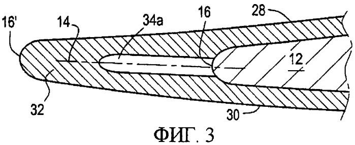 Композиционная лопатка газотурбинного двигателя с металлическим усилительным элементом