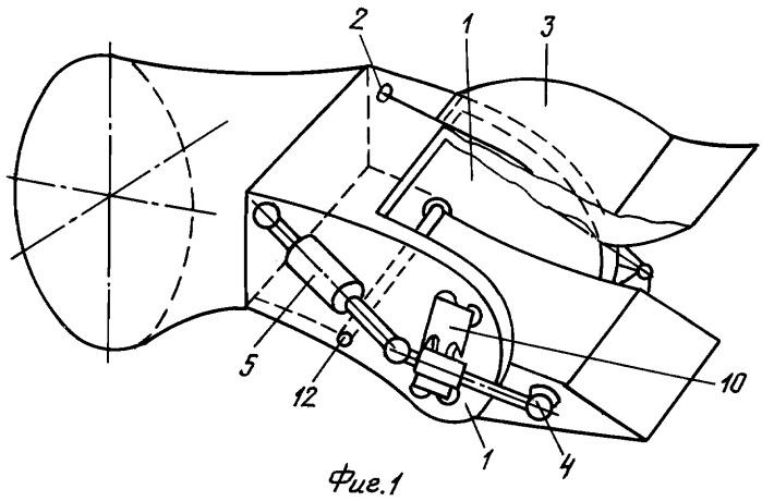 Плоское сопло турбореактивного двигателя